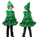 Napoo Toddler Kids Baby Girls Christmas Tree Hairball Costume Party Dress Tops+Hat Outfits