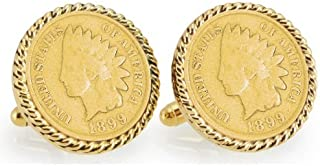product image for Gold-Layered 1800's Indian Head Penny Goldtone Rope Bezel Coin Cuff Links   United States Coins   Men's Cufflinks   Over 100 Years Old