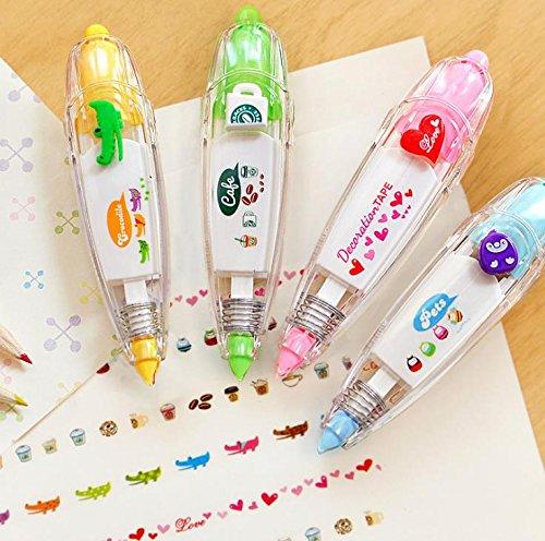 Biggroup 4pcs novità adesivo machines DIY pittura penne correttore a nastro motivi per bambini