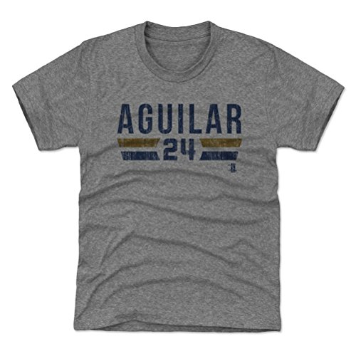 500 LEVEL Milwaukee Baseball Youth Shirt - Kids X-Large (14-16Y) Tri Gray - Jesus Aguilar Milwaukee Font B