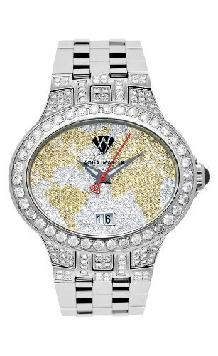 NEW! Aqua Master Men's Oval World Map Diamond Watch, 12.00 ctw - Specially Boxed with Two Extra Bezels by Aqua Master