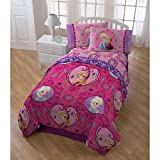 5 Piece Girls Kids Disney Frozen Comforter Twin Set, Adorable Pink Pretty Movie Themed Bedding + Cute Elsa Pillow Buddy