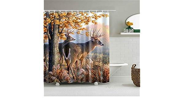 LJJJZS Mamparas de baño Animales Ciervos Cortina de Ducha Decoración del hogar Cortinas de poliéster Impermeables para baño 90 * 180 cm: Amazon.es: Hogar