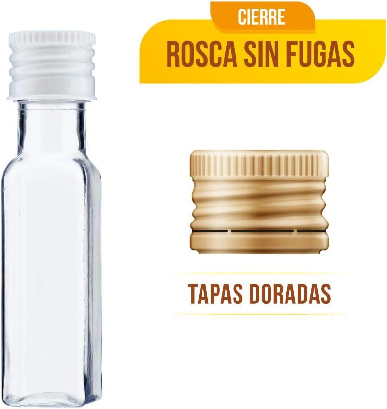 TAPAS /& ENVASES RIOJA Mini Botellas de Licor minibotellas de Ginebra botellitas de plastico Pet para obsequios de Boda con tapon de Rosca de 20 Ml