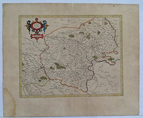 - ORIGINAL ANTIQUE 1606 Map of France near Bourges