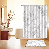 Concise Decoration Shower Curtain Polyester Fabric 3D Digital Printing 60x72 Mildew Resistant Waterproof Luxury Hoary Grey White Marble Texture Domolite Bathroom Bath Curtain Liner Absorbent Bath Mat