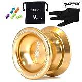 yo yo starter kit - Magicyoyo Alloy Aluminum Professional Yo-yo T8 Shadow Unresponsive Yoyo with Glove & Bag & 5 Strings,Professional Yo Yo Ball Bearing Gift Toy, Golden