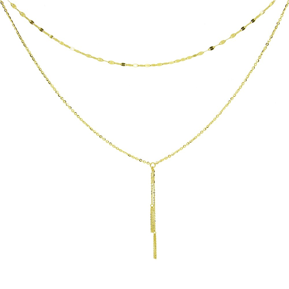 14K Yellow Gold Italian Chain Hammered Mariner Layered Dainty Lariat Y-Necklace by Hoops & Loops