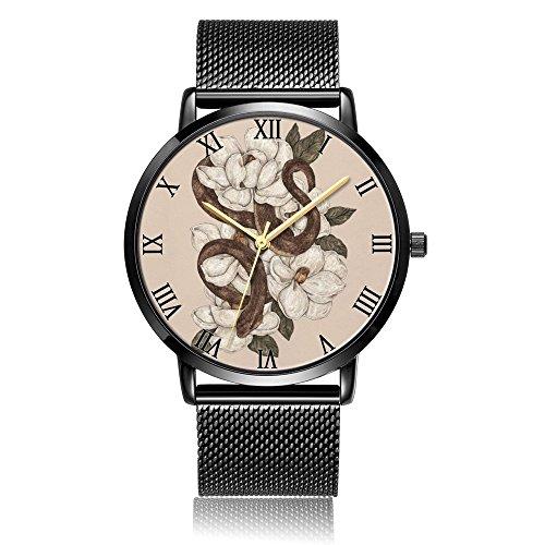 Whiterbunny Customized Magnolia & Snake Wrist Watch Unisex Analog Quartz Fashion Black Steel Strip/Black Dial Plate for Women and Men
