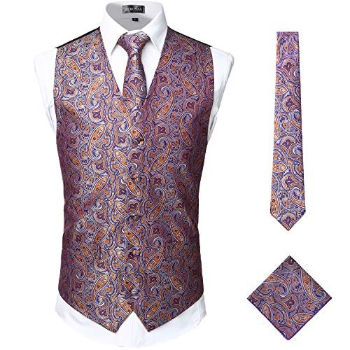 (ZEROYAA Mens Classic 3pc Jacquard Paisley Vest Set Necktie Pocket Square Waistcoat for Suit or Tuxedo ZLSV08 Gold Purple Large)