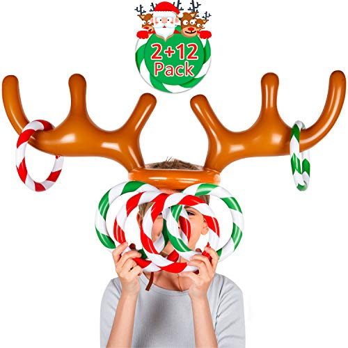 Joyjoz Two-Player Inflatable Reindeer Antler Ring Toss Game for Xmas Party (2 Antlers 12 Rings) (Christmas Games Reindeer)