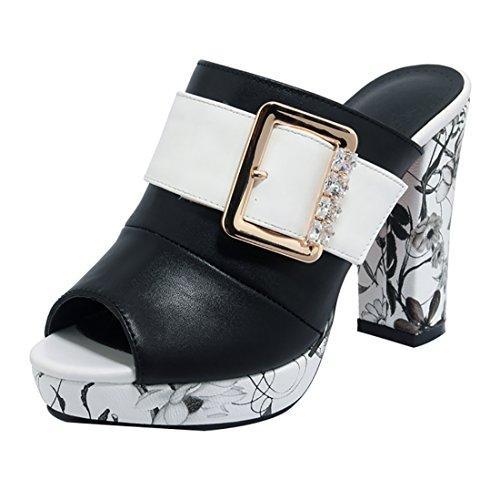 de Zapatos Mujer negro Piel Lisa UH Vestir de atnYq