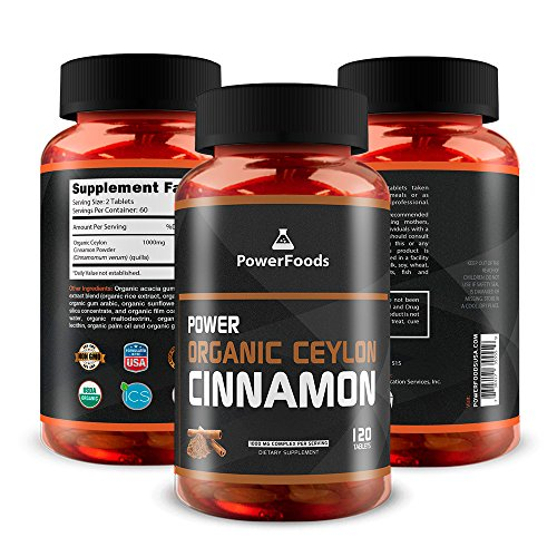 Pure Cinnamomum Verum Quills ★ Power Organic Ceylon Cinnamon Powder x120 Tablets (Easy to Swallow) ★ 1000mg Complex - PowerFoods ★ Certified USDA Organic Product by ICS ★ Health Benefits by PowerFoods