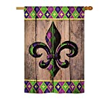 Fleur De Lys Burlap – Spring Mardi Gras Decoration – 28″ x 40″ Impressions House Flag by Ornament Collection – US made For Sale