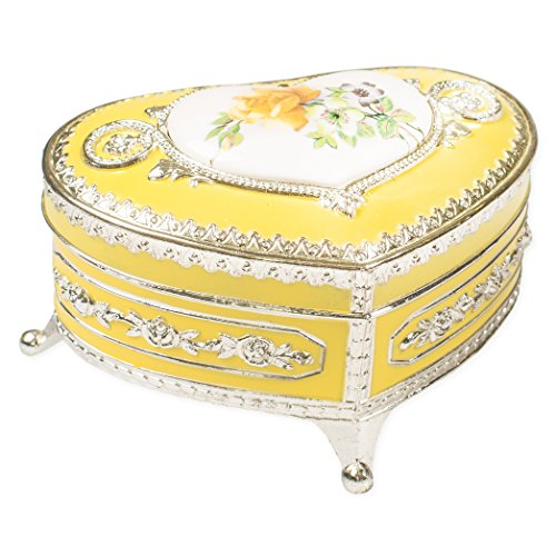 (Vintage Yellow Rose Flower Silver Tone Metal Keepsake Music Box Plays Tune Ice Castle)