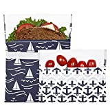 Lunchskins Reusable 2-Pack Bag Set, Navy Boat (1 Sandwich + 1 Snack)