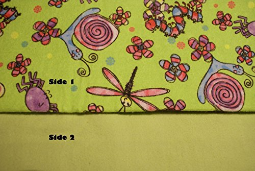 Pocket-2in1-Sheet Colorful Fun Bugs with Light Green Flannel 2 in 1 Patented No Slip Reversible Pack n Play Play Yard Fitted Sheet Cover or Day Care Mini Crib Mattress Sheet