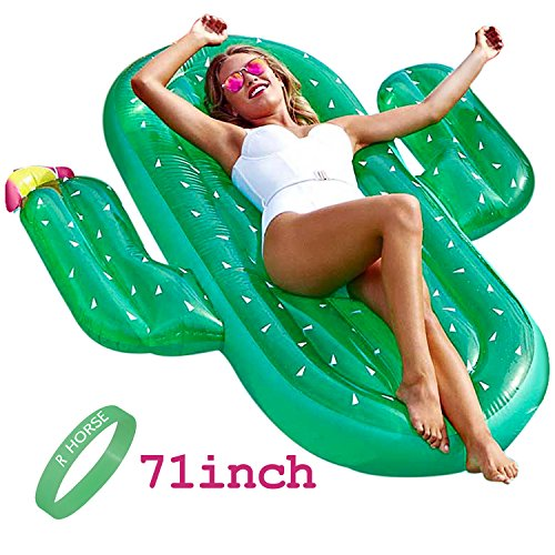 Large 71in Inflatable Cactus Pool Float R • HORSE Large Outdoor Swimming Pool Inflatable Float Floatie Raft Lounger for Adult and Children for Summer Party Swimming Beach (Cactus Pool)