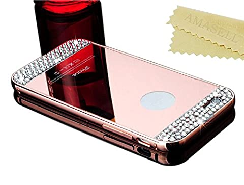 iPhone 5C Case (1pc/Pack), AMASELL Luxury 3D Handmade Bling Mirror Acrylic PC Back Cover Case and Metal Bumper Frame for Apple iPhone 5C, Rose Gold - Bling (3d Bling Cases For Iphone 5c)
