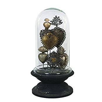 Image of Creative Co-op Decorative Tin Sacred Hearts on Wood Pedestal with Glass Cloche Home and Kitchen