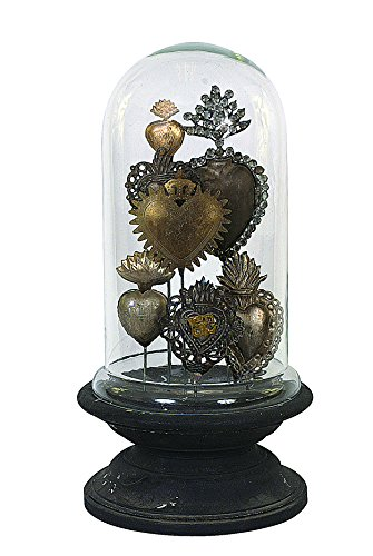 Creative Co-op Decorative Tin Sacred Hearts on Wood Pedestal with Glass Cloche