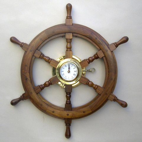 Iotc Sh4864, Solid Brass Hardwood Porthole Ship Wheel Clock 24'' by IOTC