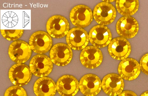 Non x Rhinestones Yellow Citrine Glass Back Flat Fix Hot Crystals 1440 EIMASS wAnd4IxaAq