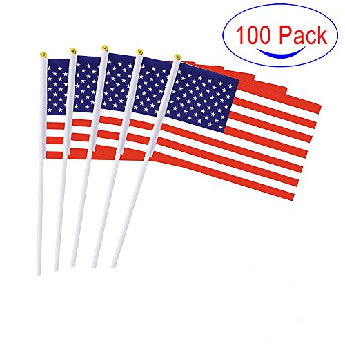 Hand Held American Stick Flags Mini US Flag on Sticks for 4th of July Festival Events Celebration 100Pcs