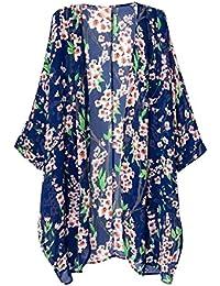 Women's Short Sleeve Beachwear Sheer Chiffon Kimono Cardigan Solid Casual Capes Beach Cover up Blouse