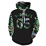 Green Leaves Hoodies Men/Women 3d Sweatshirts Print Number 65 Letters Flowers Hooded Hoodies Graphic Sweatshirts