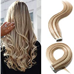 """18"""" 50g Remy Tape in Hair Extensions Highlight Human Hair #12/613 Long Straight Hair Seamless Skin Weft Invisible Double Sided Tape 20pc/pack +10 Free Tape Bonds Golden Brown Mix Bleach Blonde"""