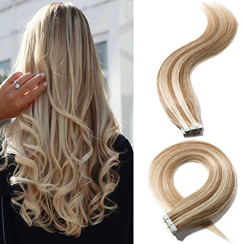 20 Inch 20pcs 50g/pack Remy Tape in Human Hair Extensions 12P613 Balayage Long Straight Hair Seamless Skin Weft Invisible Double Sided Tape Two Tone Golden Brown Highlighted with Bleach Blonde ()
