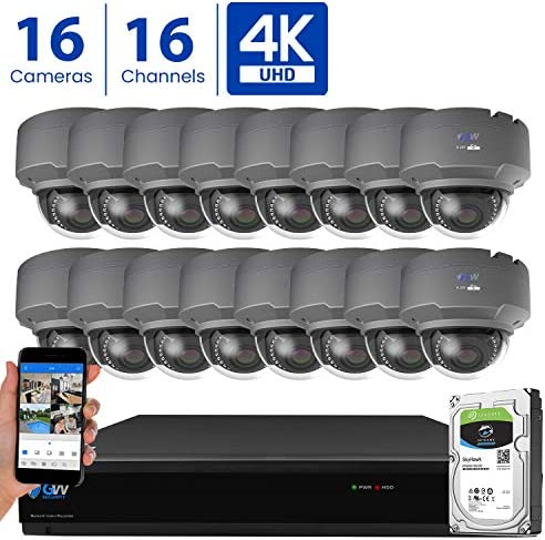GW 16 Channel 4K H.265 CCTV DVR Security Camera System with 16 x UHD 8MP 2.8-12mm Varifocal Zoom 4K Dome Surveillance Cameras and 4TB HDD, Free Remote View, Motion Alert with Snapshot