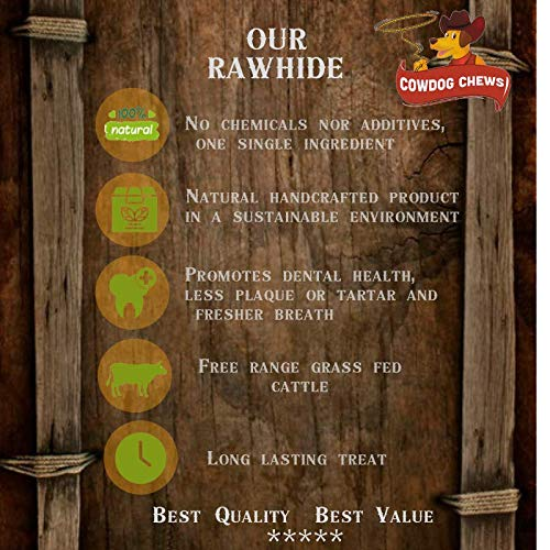 Cowdog Chews Natural Rawhide Chips - Premium Long-Lasting Dog Treats with Thick Cut Beef Hides, Processed Without Additives or Chemicals (5 Pounds)