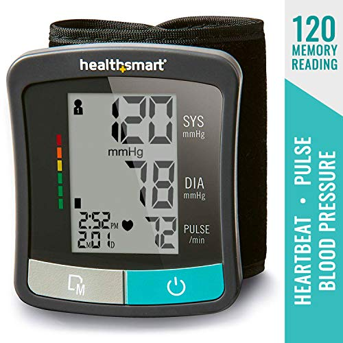 Blood Pressure Monitor for Wrist to Monitor Pulse, Heartbeat and Blood Pressure and includes Standard Wrist Cuff Size, Black