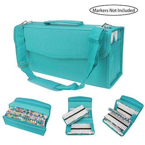 122 Slots Marker Carrying Case Lipstick Organizer, Canvas Markers Holder for for Primascolor Markers and Copic Sketch Markers (Water Green)