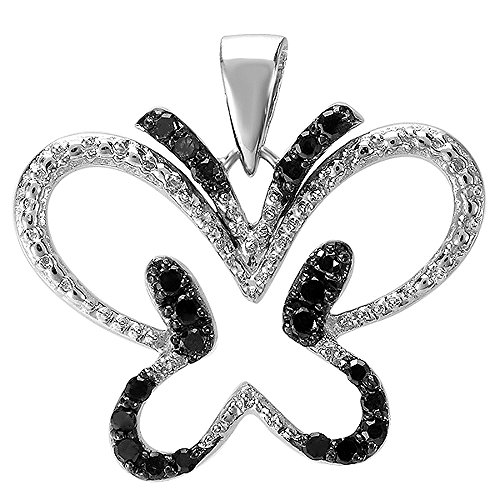 0.20 Carat (ctw) Sterling Silver Round Black Diamond Butterfly Ladies Pendant 1/5 CT ()