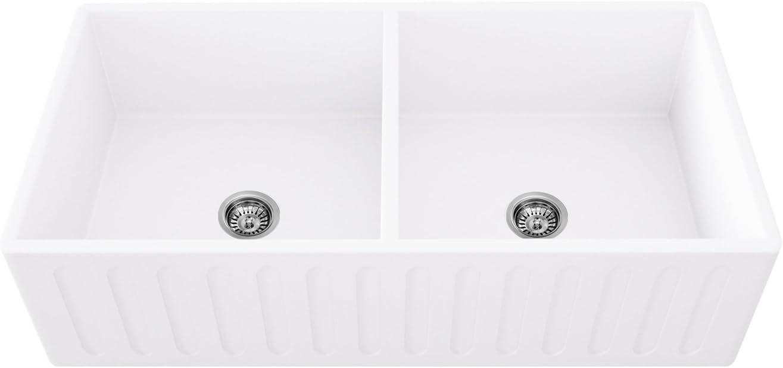 VIGO VGRA3318BL 33 inch Farmhouse Apron Double Bowl Matte Stone Kitchen Sink, 33, White