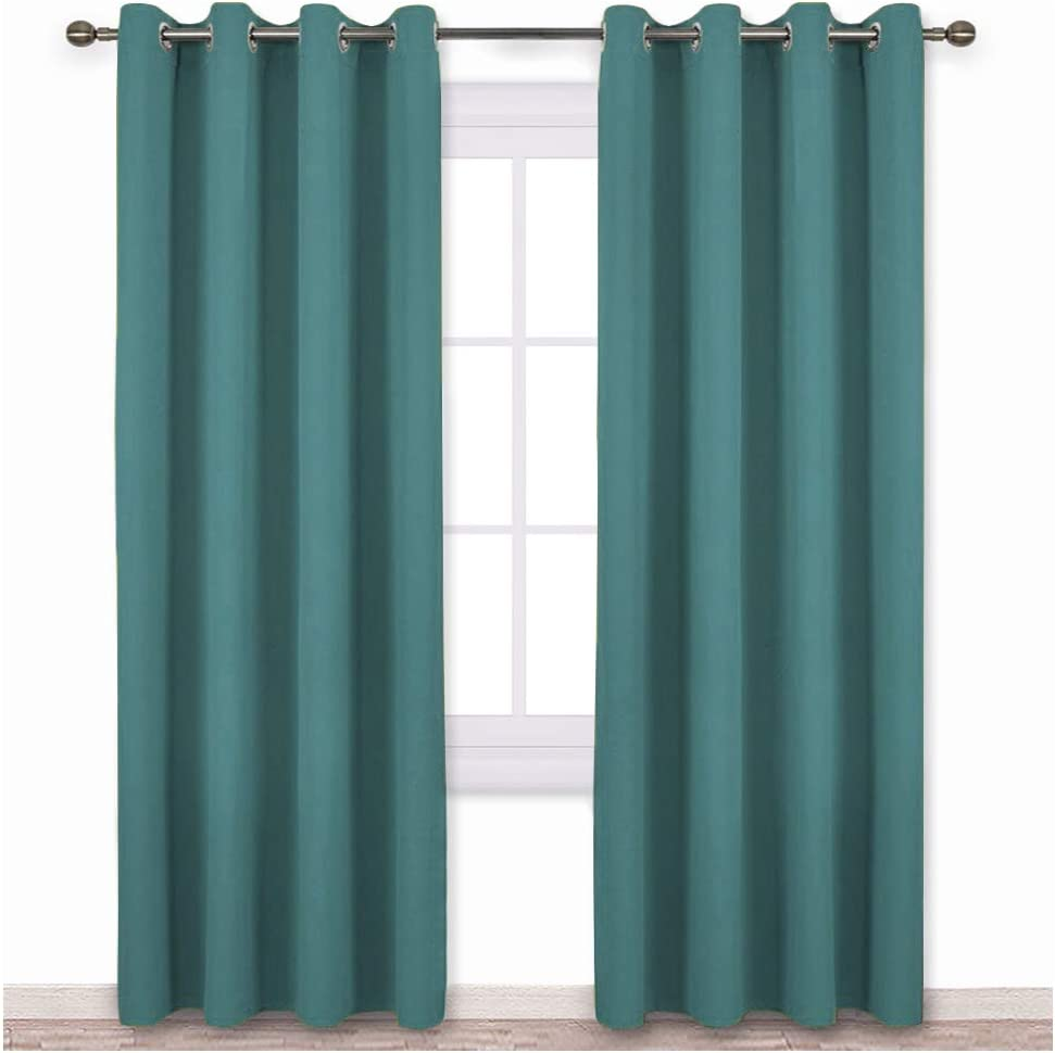 NICETOWN Insulated Curtains Blackout Draperies - Triple Weave Microfiber Home Thermal Insulated Solid Ring Top Blackout Curtains/Panels for Bedroom(Sea Teal, Set of 2, 52 x 84 Inch)