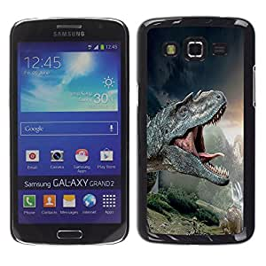 Qstar Arte & diseño plástico duro Fundas Cover Cubre Hard Case Cover para Samsung Galaxy Grand 2 II / SM-G7102 / SM-G7105 ( T-Rex Dinosaurs Prehistoric Ancient)