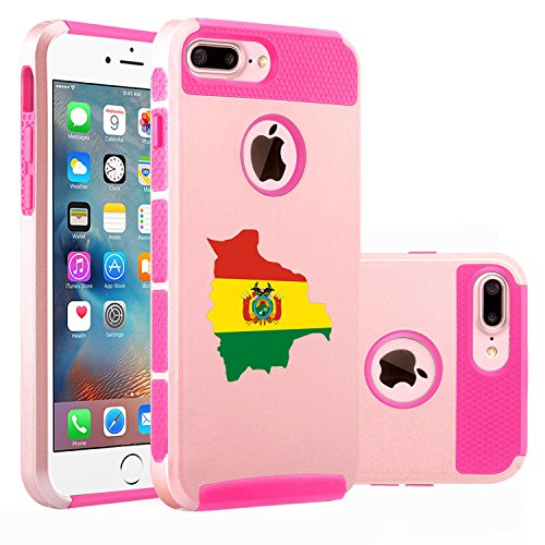 For Apple (iPhone 8 Plus) Shockproof Impact Hard Soft Case Cover Bolivia Bolivian Flag (Rose Gold-Hot (Bolivian Rose)