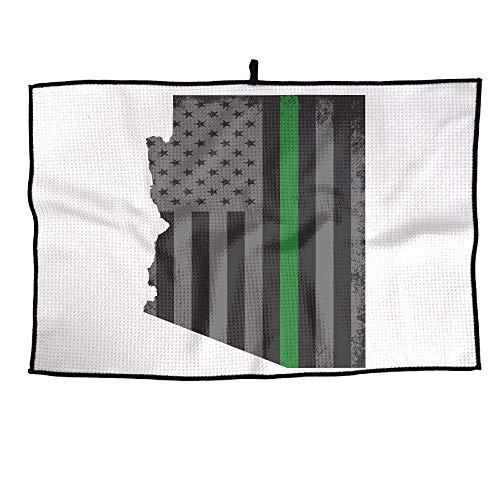 (KLQ Custom Golf Towel Green Thin Line American Flag Arizona State Map Sports Towel Player Towel 23.6x15 Inches)