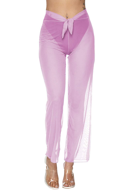 Pink X-Large COCOLEGGINGS Women's Front Tie Sheer Mesh Swimwear Cover Up Pants