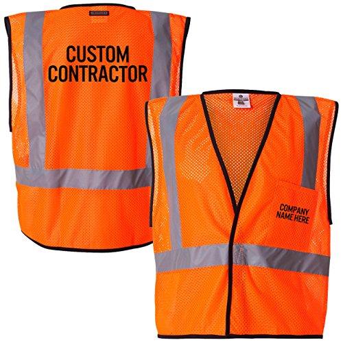 Custom Kamal Ohava Personalized Mesh Reflective Safety Vest, Orange, 2X/3X by KAMAL OHAVA (Image #2)