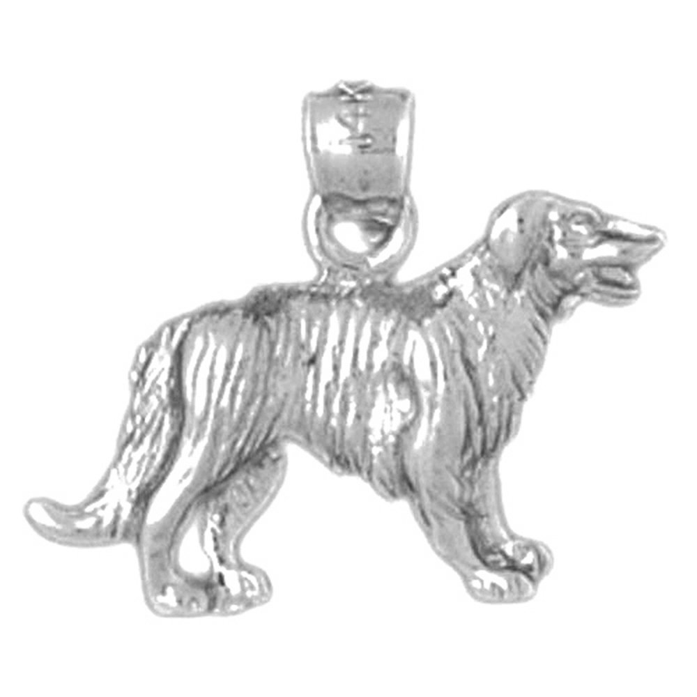 Jewels Obsession Dog Necklace Rhodium-plated 925 Silver Dog Pendant with 16 Necklace