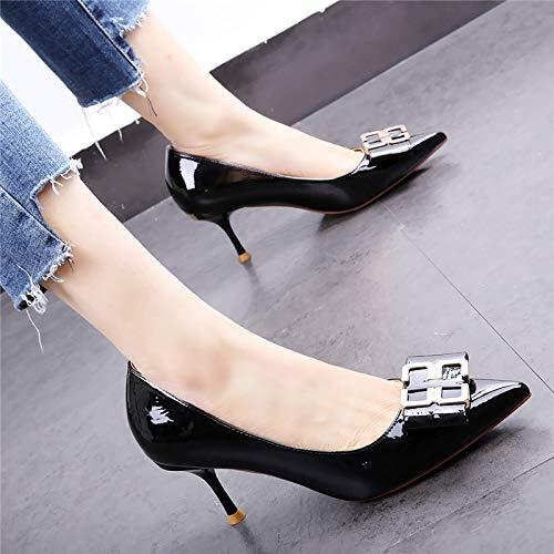 HOESCZS Nude Farbe Mädchen High Heels 19 Frühjahr Neue Spitze Spitze Spitze Lackleder Stiletto Mode Schnalle einzelne Schuhe schwarz d7dc61