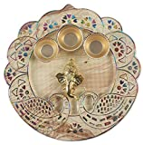 Ganesha Decorative Pooja Thali Platter,Handicraft Hand Painted Thali,Haldi Kumkum Holder & Ganesh Pooja Thali, for Pooja & All Auspicious Occasions & Gifts