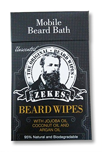 Zekes The Original Beard Wipes (10 Pack) - Beard Conditioner, Beard Oil, Beard Kit, Beard Bundle, Coconut oil, Argan oil, Jojoba oil