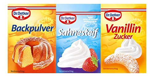 Dr. Oetker 1x3 Backpulver (Baking Powder), 1x3 Sahnesteif, 1x5 Vanillin Zucker (Vanilla Sugar) Bundel
