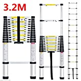 Fashine 3.2M 10 Rungs Multi-purpose Telescopic Ladder, Aluminum Foldable Extendable Ladder Up to 330lbs [US STOCK]